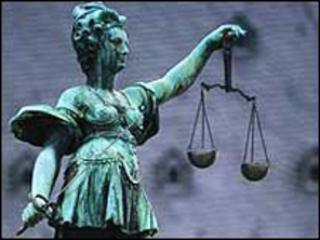 Scales of justice and figure