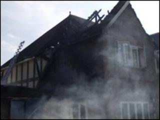 The roof of the Buckinghamshire house was destroyed