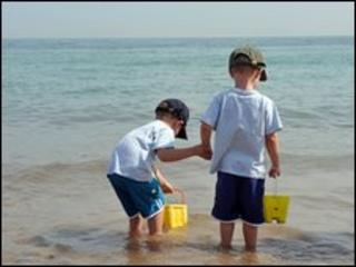 Children at a beach