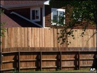 A new fence outside Sarah Palin's Alaska home