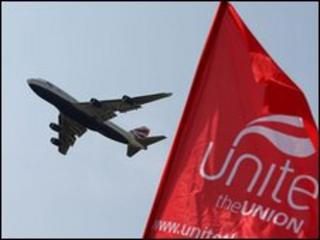 A plane and a Unite flag