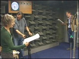 Ruth and David Archer recording an episode