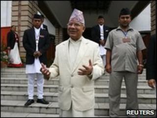 Nepal's prime minister Madhav Kumar Nepal on steps of constitutional assembly