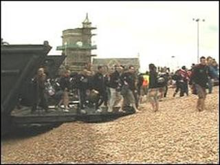 Cyclists landing at Dover