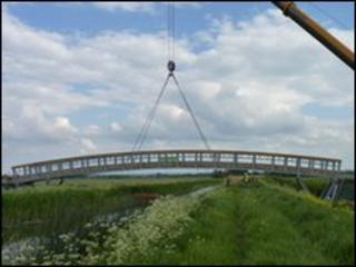 Bridge over Reach Lode on Lodes Way in Cambridgeshire