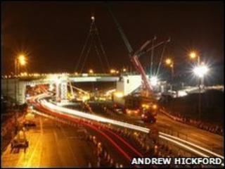 New bridge put into place on A80