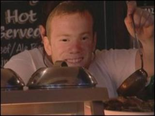 Wayne Rooney, serving gravy