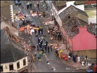 Aerial shot of scene of Omagh bomb