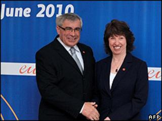 Bosnian Foreign Minister Sven Alkalaj and EU High Representative for Foreign Affairs Catherine Ashton, 2 Jun 10