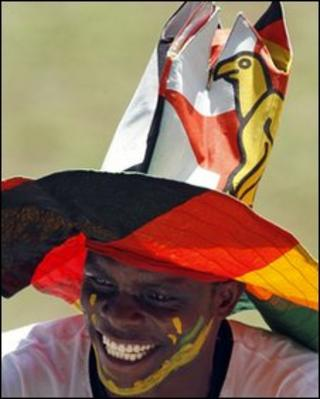A football fan before a friendly match between Brazil and Zimbabwe in Harare, 2 June 2010