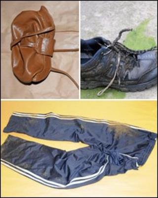 The handbag, trainer and tracksuit bottoms found in Porthmadog