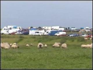 The encampment on land near Dale on Sunday