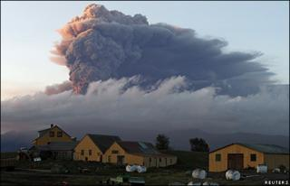 Ash rises from the volcano under the Eyjafjallajokull glacier in Iceland, 16 May 10