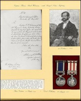 Capt Waterman's medals and a note explaining how he overslept through the Indian Mutiny
