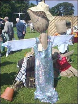 Scarecrow wearing Kim Wilde's donated dress (Pic: Lisa Summers)