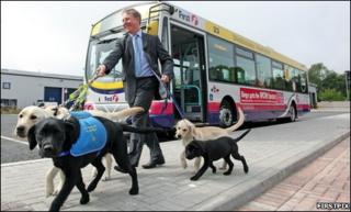 Bob Dorr of First with guide dogs [Pic: Firstpix]