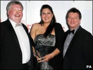 Rebecca Williamson with Simon Weston (left) and Stuart Maconie