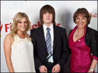 Tyler Holpin with Anna Williamson and Esther Rantzen
