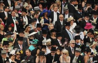 Race-goers at the Epsom Derby in Surrey