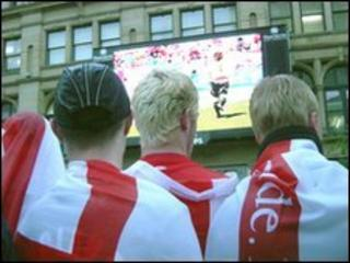 England fans watching Big Screen in Manchester
