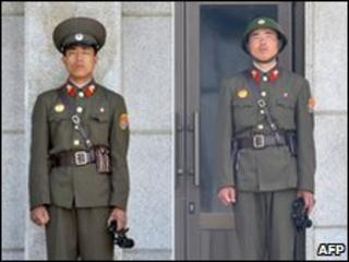 North Korean soldiers at the demilitarized zone on 2 June 2010