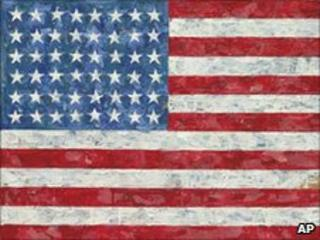 "Jasper Johns' ""Flag,"" a pop art rendition of the American flag created in the 1960s"