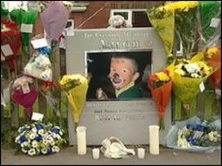 Floral tributes outside the family home