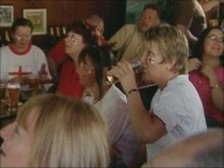 England fans drinking in a pub - generic