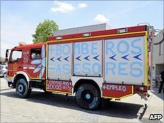Spanish fire engine during public sector strike