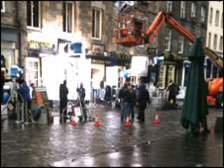 Bollywood filming in The Grassmarket