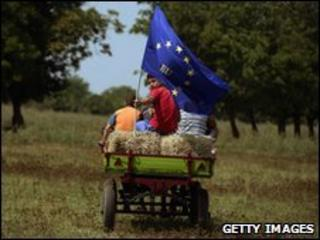 Bulgarian farmer holding European flag