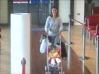 Police believe this CCTV footage is Lucy Anderson with Sophie at the ferry terminal