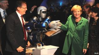 Prof Woerner and Angela Merkel at ILA2010
