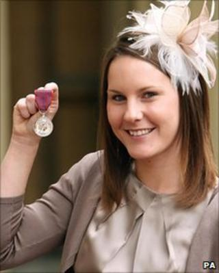 Kerry Shepherd with her husband's George Medal