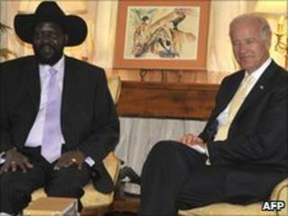US Vice President Joe Biden (R) meets with Southern Sudan President Salva Kiir on June 9, 2010 at the US ambassador's residence in Nairobi