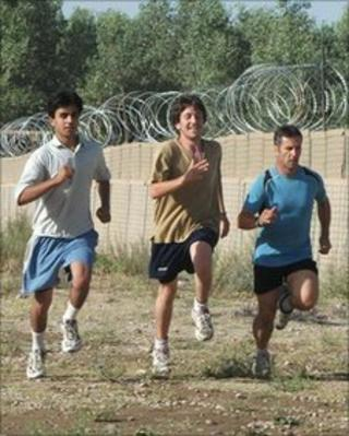 Warrant Officer Gareth Davies training for charity run with Afghan interpreters