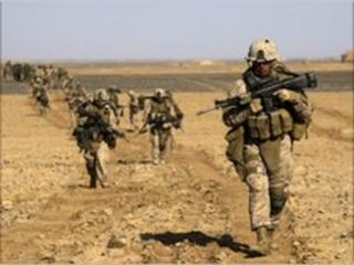 File photograph of Nato soldiers in Helmand province, Afghanistan, on 13 February 2010