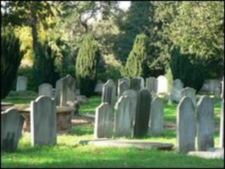 Grave stones in cemetery
