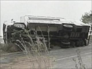 Student's overturned truck in South Africa