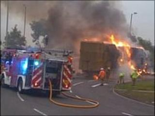 The A5 lorry fire