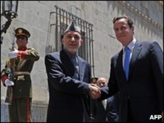 Hamid Karzai and David Cameron