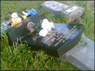 Vandalism at Cardonald Cemetery