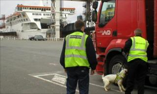 Sniffers dogs checking lorries at Calais