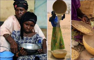 Hadje and her daugher Hane (left), women sift maize in Niger