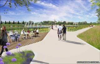Artists' impression of revamped Burgess Park
