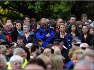 Mourners gathered at a service in Whitehaven earlier this week