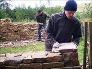 Trainee dry-stone wallers