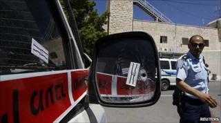 Israeli police car shot at in the West Bank 14 June