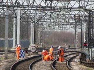 Maintenance work on railway tracks