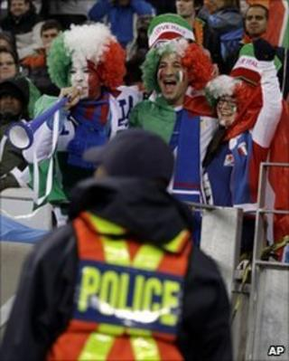 Police at Italy Paraguay match